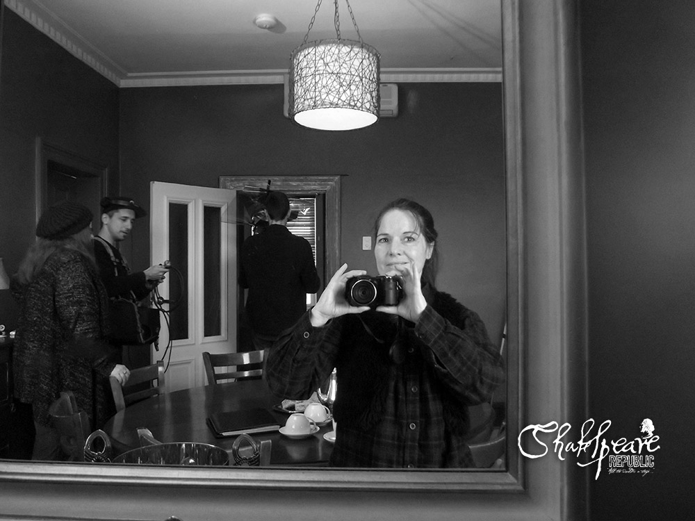 Co-Producer, Perri Cummings, takes a highly creative combined selfie and behind the scenes shot of filming in the stunning gold gilt mirror in the Red Room at The Courthouse Hotel, North Melbourne (Photo by Perri Cummings)