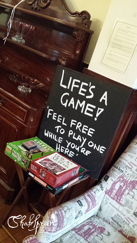 We loved the fun of having these board games available to play, only we didn't have time to partake ... this time! (Photo: Sally McLean)