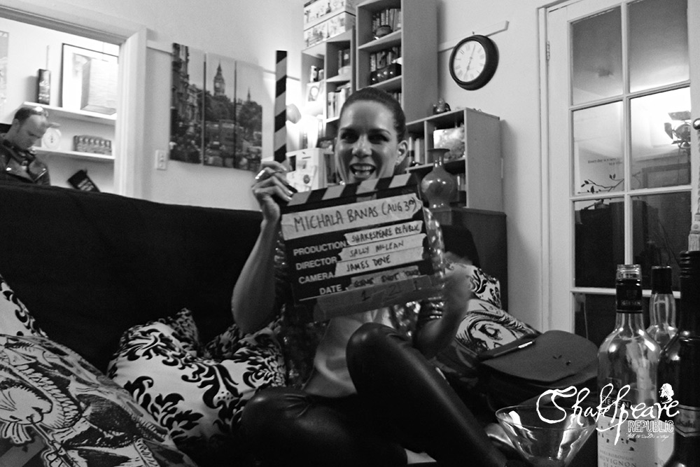 Michala Banas on set for her episode, clapper board in hand (Photo: Sally McLean)