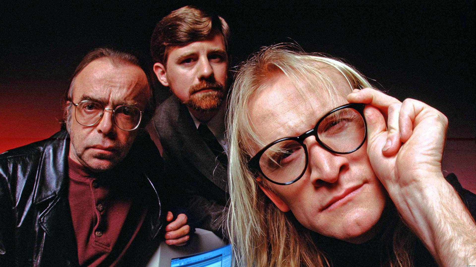 "Tom Braidwood, Bruce Harwood and Dean Haglund as ""The Lone Gunmen"" on the X-Files"
