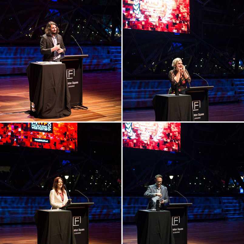 CLOCKWISE FROM TOP LEFT: Daniel Tenni accepts the award for Best Australian Drama for Greenfield, Jenny Wynter accepts the Pitch Perfect Award for her pitch of Viking Mama, John Cabrera presents the Grand Jury Award in his capacity as President of the 2016 MWF Jury and Kate Madison accepts the Grand Jury Award for Ren: The Girl With The Mark (all photos courtesy of Melbourne Web Fest)