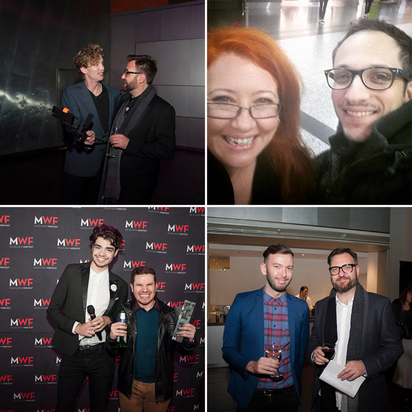 CLOCKWISE FROM TOP LEFT: Shane Savage interviews MWF Festival Director, Steiner Ellingsen for WebVee Guide on Periscope on Closing Night, Sally McLean with John Cabrera, Shaye Windsor on the black carpet with Jeremy Brull (Winner: Best Director) & Kevin Mountain (ABC iView) with Festival Director Steiner Ellingsen on Opening Night (Photos courtesy of Melbourne Web Fest and the author)