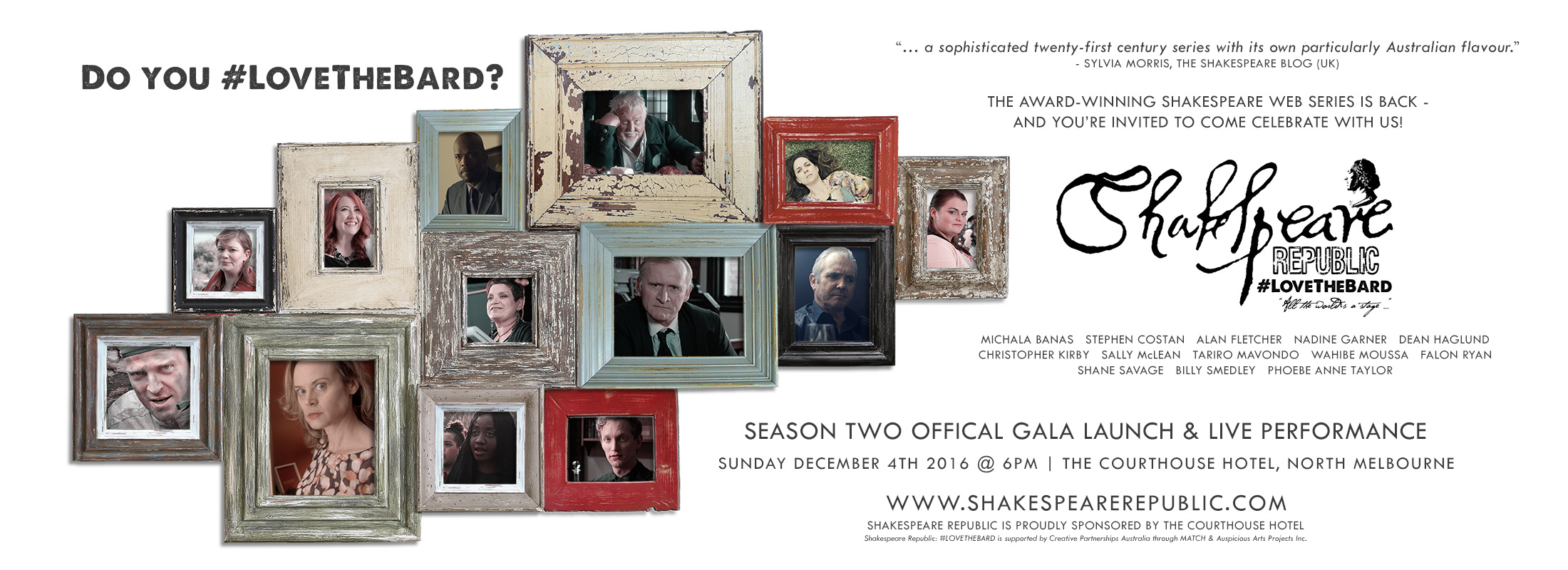 Shakespeare Republic #LoveTheBard Season Two Launch Tickets Released! #shakespeare #party