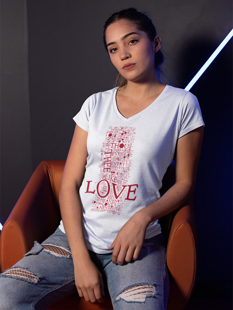 Shakespeare's Love Words Women's Fitted V-Neck T-Shirt